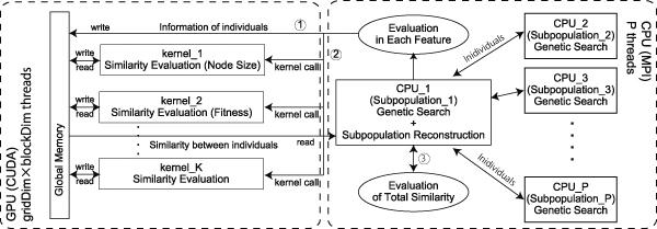 Self-Organized Subpopulation Based on Multiple Features in Genetic Programming on GPU