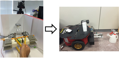 Teaching Mobile Robots Using Custom-Made Tools by a Semi-Direct Method