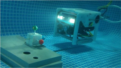 Visual Servoing for Underwater Vehicle Using Dual-Eyes Evolutionary Real-Time Pose Tracking