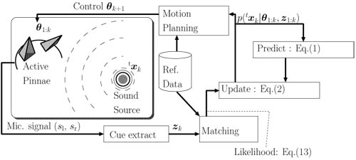 Active Sound Source Localization by Pinnae with Recursive Bayesian Estimation