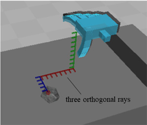 Supporting Reaching Movements of Robotic Hands Subject to Communication Delay by Displaying End Effector Position Using Three Orthogonal Rays