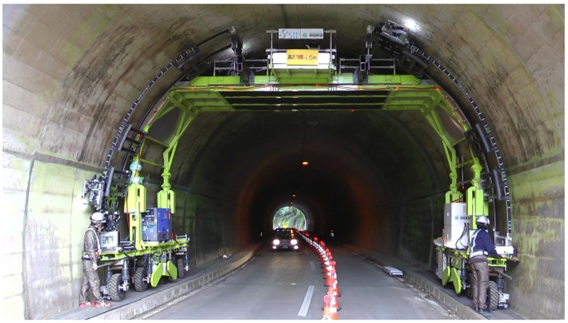 Inspection Test of a Tunnel with an Inspection Vehicle for Tunnel Lining Concrete
