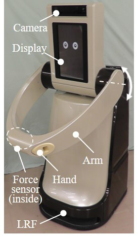 Autonomous Mobile Robot Moving Through Static Crowd: Arm with One-DoF and Hand with Involute Shape to Maneuver Human Position