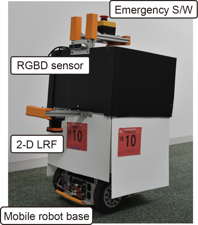 Rapid Development of a Mobile Robot for the Nakanoshima Challenge Using a Robot for Intelligent Environments