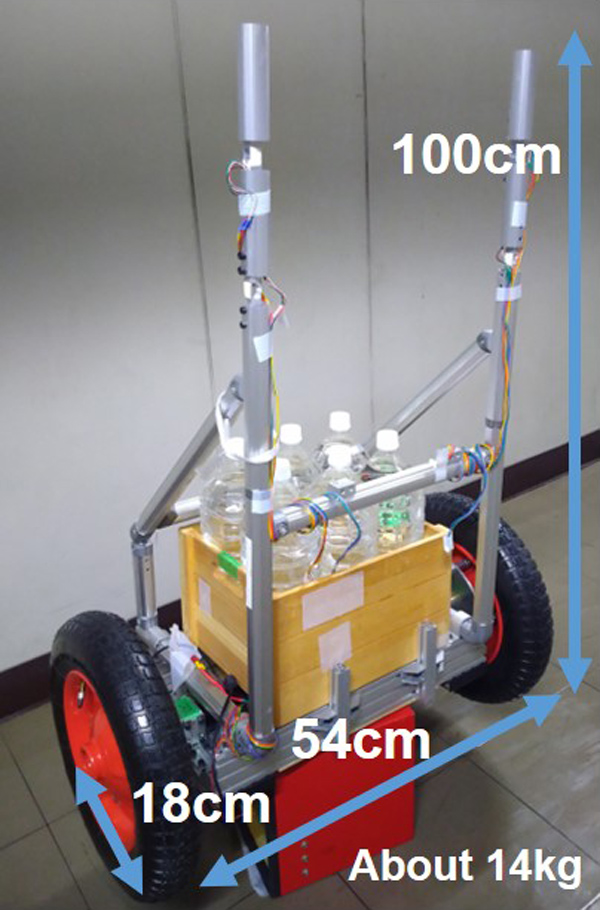 Stabilization Control of Inverted Two-Wheeled Luggage Transport Vehicle Using a Kalman Filter-Based Disturbance Observer